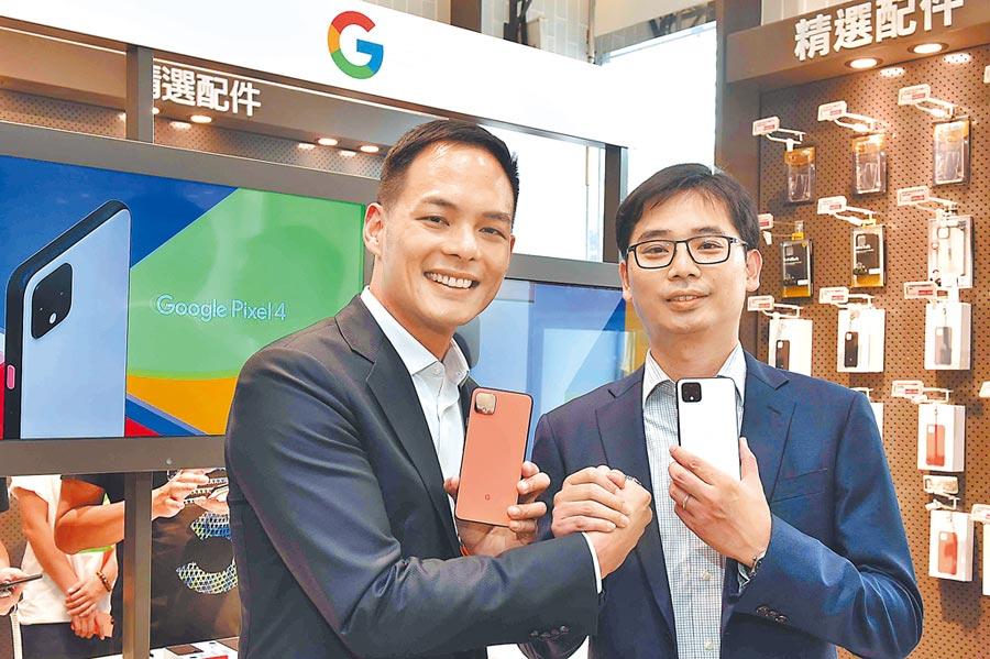 台灣大哥大總經理林之晨(左)與Google硬體副總裁彭昱鈞(右)共同宣布Google Pixel 4手機由台灣大哥大獨家開賣。(台灣大提供)