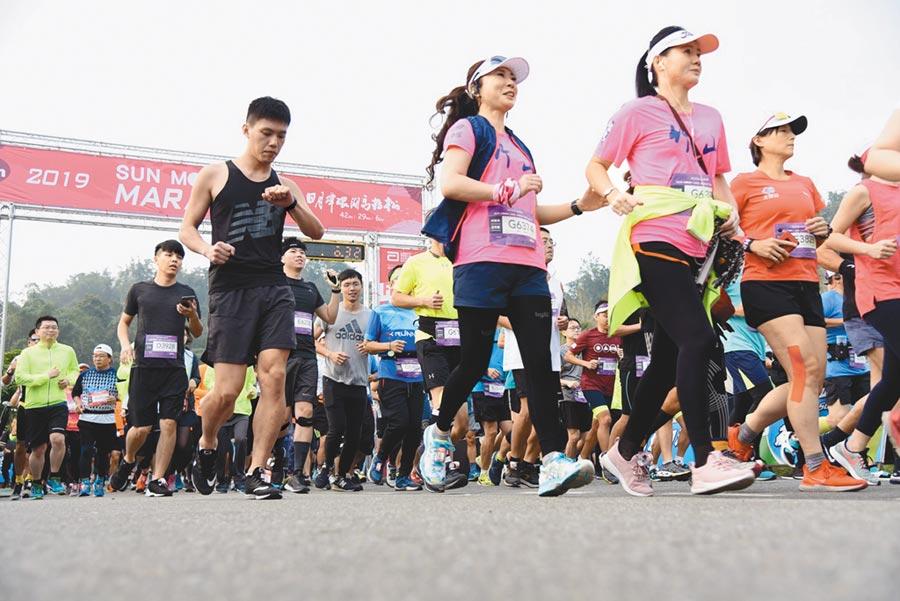 日月潭環湖馬拉松,27日在向山遊客中心開跑。(廖志晃攝)