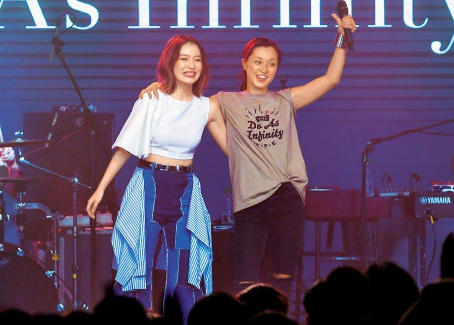 大無限樂團伴都美子(右)與F.I.R.飛兒樂團的Lydia合唱〈Forever Young ~永恆飛翔~〉。(盧禕祺攝)