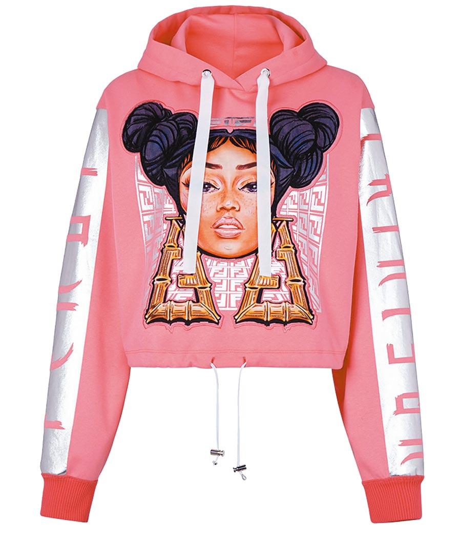 FENDI Prints On粉色長袖帽T,3萬9000元。(FENDI提供)