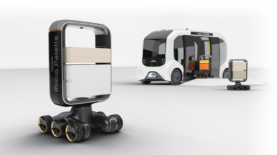 TOYOTA概念車e-Palette可裝載各式不同功能的小型機器人。(TOYOTA提供)