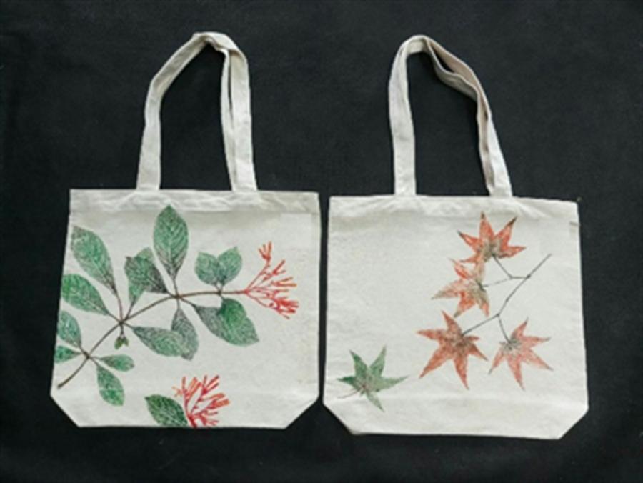 谷關里山生活市集當天推出「森林風帆布包」植物拓印免費DIY活動。(東勢林管處提供/王文吉台中傳真)