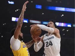 NBA》一眉哥打出代表作 湖人痛宰灰熊