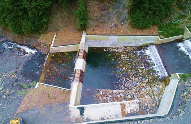 必坦溪設計透過性壩體,可攔阻土砂、淨化水質。(東勢林管處提供/王文吉台中傳真)