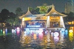 台中公園湖心亭 水燈夜間璀璨