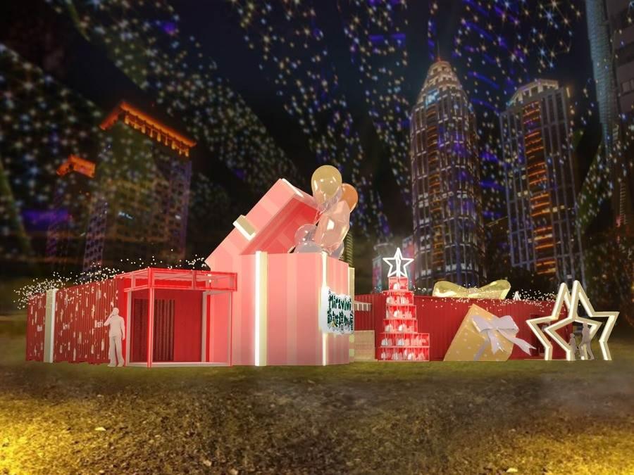 新北市歡樂耶誕城亮點之一,粉色燈海結合充滿浪漫不失可愛的禮物造型快閃店外觀,陽光映照出最自然的景色,緊接晚上拍攝出迷人又浪漫的網美照。(圖取自Miravivi耶誕禮物屋 Facebook)