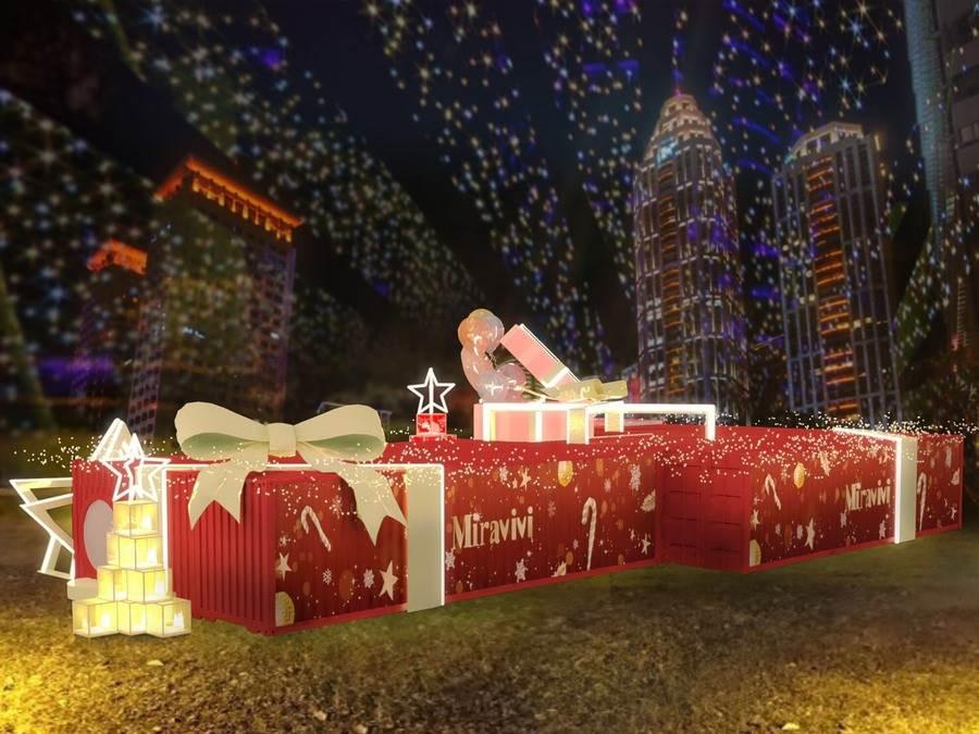 全新巨大的禮物造型裝置藝術,充滿少女心噴發的網美聖地,絕對讓民眾拍好拍滿!(圖取自Miravivi耶誕禮物屋 Facebook)