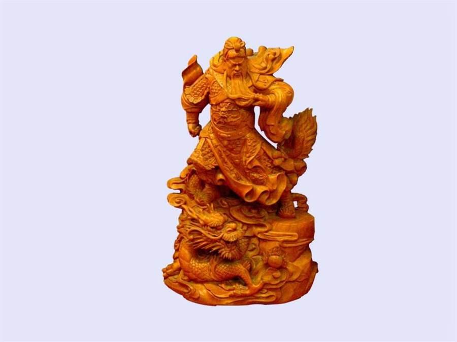 忠義武神關公木雕也現身拍賣會。(台北分署提供)