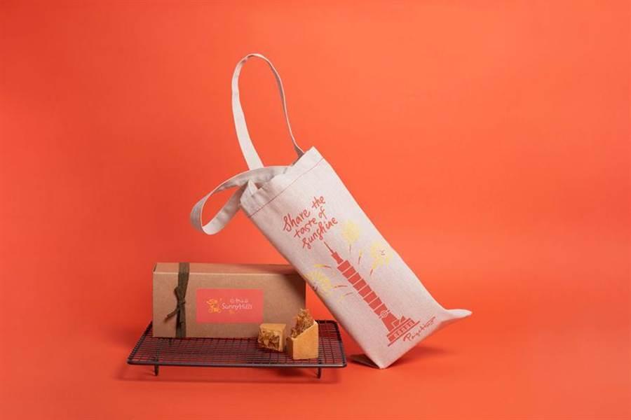 (「微熱山丘」以代表品牌印象的經典布提袋作為基底,設計出專屬台北101購物中心To Go專櫃的限定款式。圖/微熱山丘 )