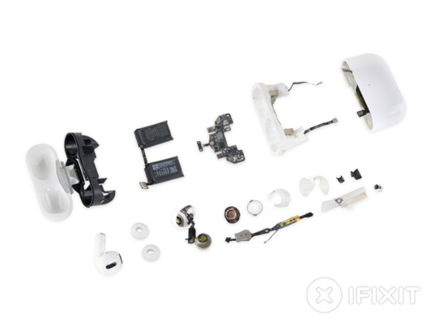 拆解機構《iFixit》公布 AirPods Pro 可修復分數為 0 分,代表壞了不建議去修,不如直接買一副新的。(摘自iFixit)