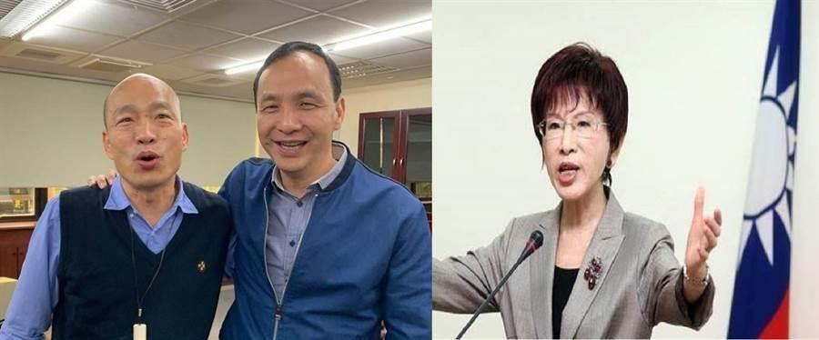 國民黨總統候選人韓國瑜(左)、前新北市長朱立倫(中)、國民黨前主席、台南立委參選人洪秀柱(右)。(圖/合成圖,中時資料照)