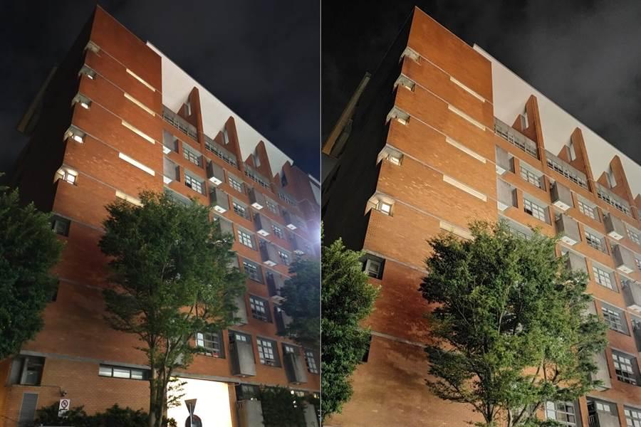 OPPO A9 2020 夜拍未開啟(左)對比夜拍模式(第一組)。(黃慧雯攝)
