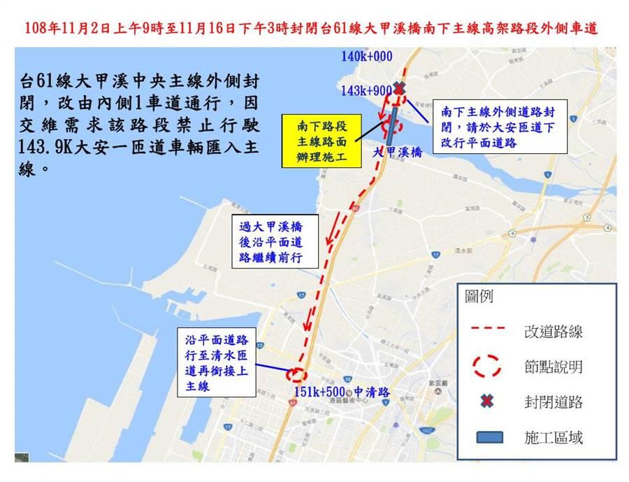 台61線大甲溪橋路段伸縮縫施工11月2日起封閉主線外側車道交管