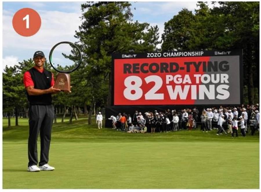 高球名將老虎.伍茲在ZOZO錦標賽獲勝,追平PGA美巡賽的82勝歷史紀錄。(圖/業者提供)