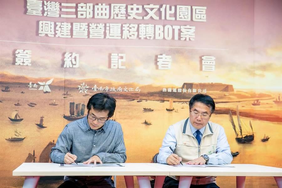 魏德聖導演與黃偉哲市長進行簽約。(熱蘭遮股份有限公司)