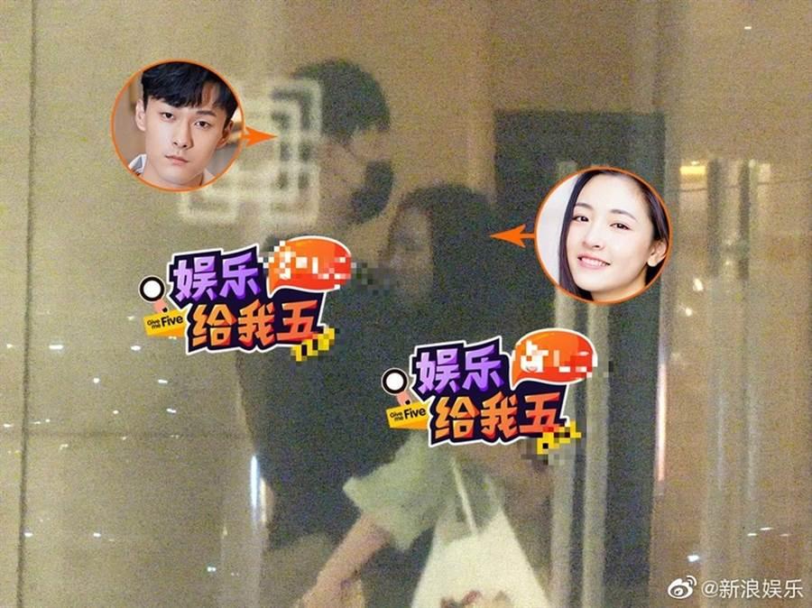 吳倩、張雨劍被拍在大廳擁抱。(圖/翻攝自新浪娛樂微博)