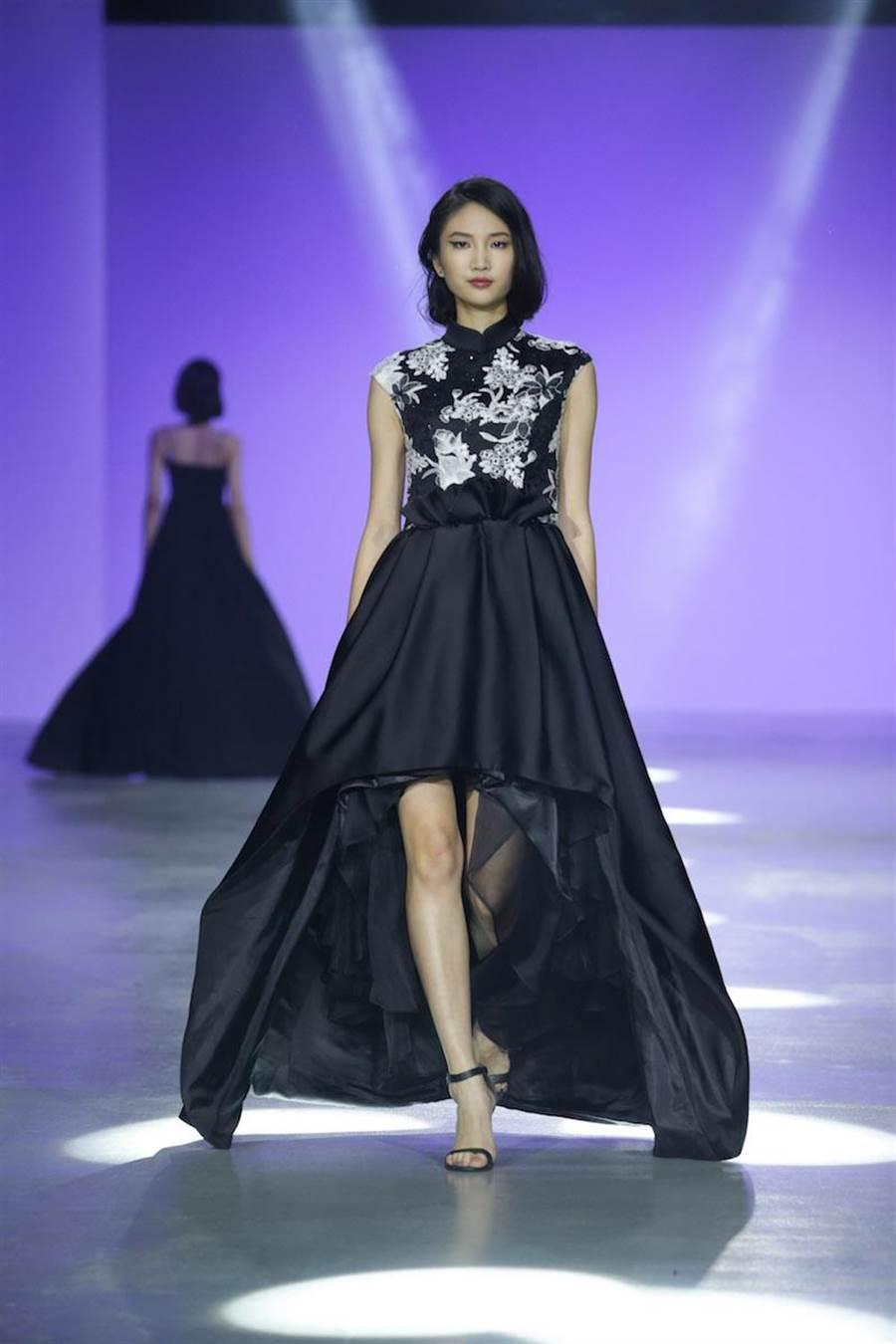 陳詠芯一襲帶有中國旗袍韻味的改良式洋裝,是Gioia Pan對老電影印象的復古懷舊 。(伊林提供)