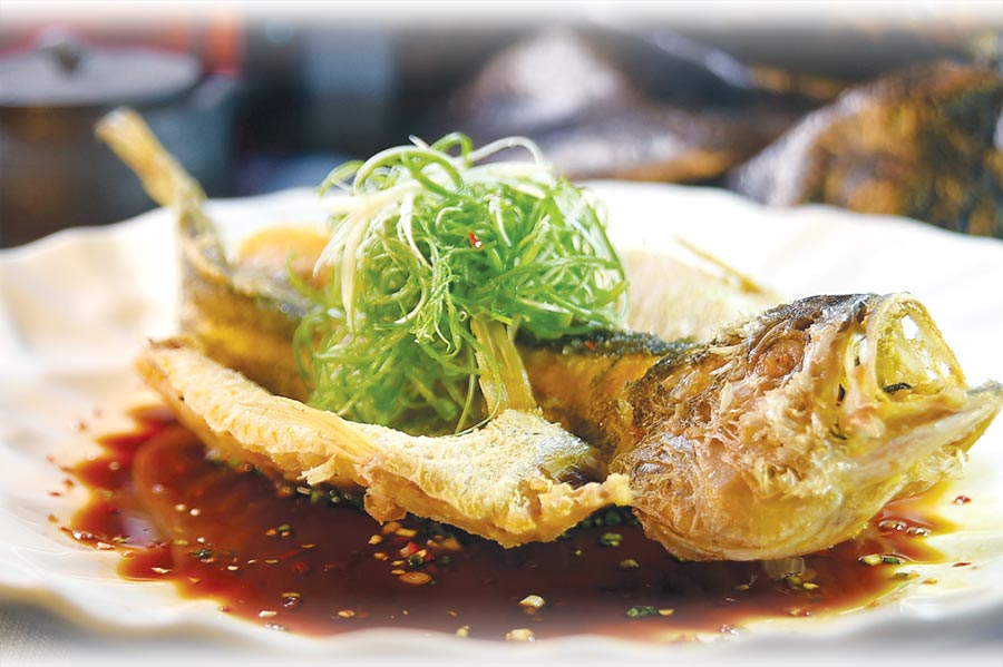 〈國賓川菜廳〉新菜〈酥香黃魚〉,結合了精湛刀功、炸功烹製,盤底提味醬汁加了一點龍眼花蜜,所以香甜。圖/姚舜