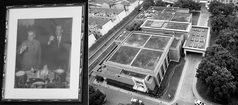 右圖為《上海公報》簽署地—上海錦江小禮堂,左圖為周恩來與尼克森在此發表的老照片。(新華社資料照片)