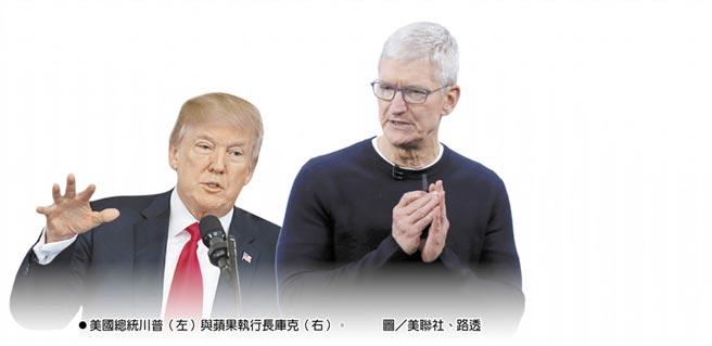 美國總統川普(左)與蘋果執行長庫克(右)。圖/美聯社、路透