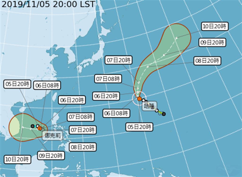 輕颱娜克莉生成 秋季雙颱路徑曝光。(圖/氣象局)