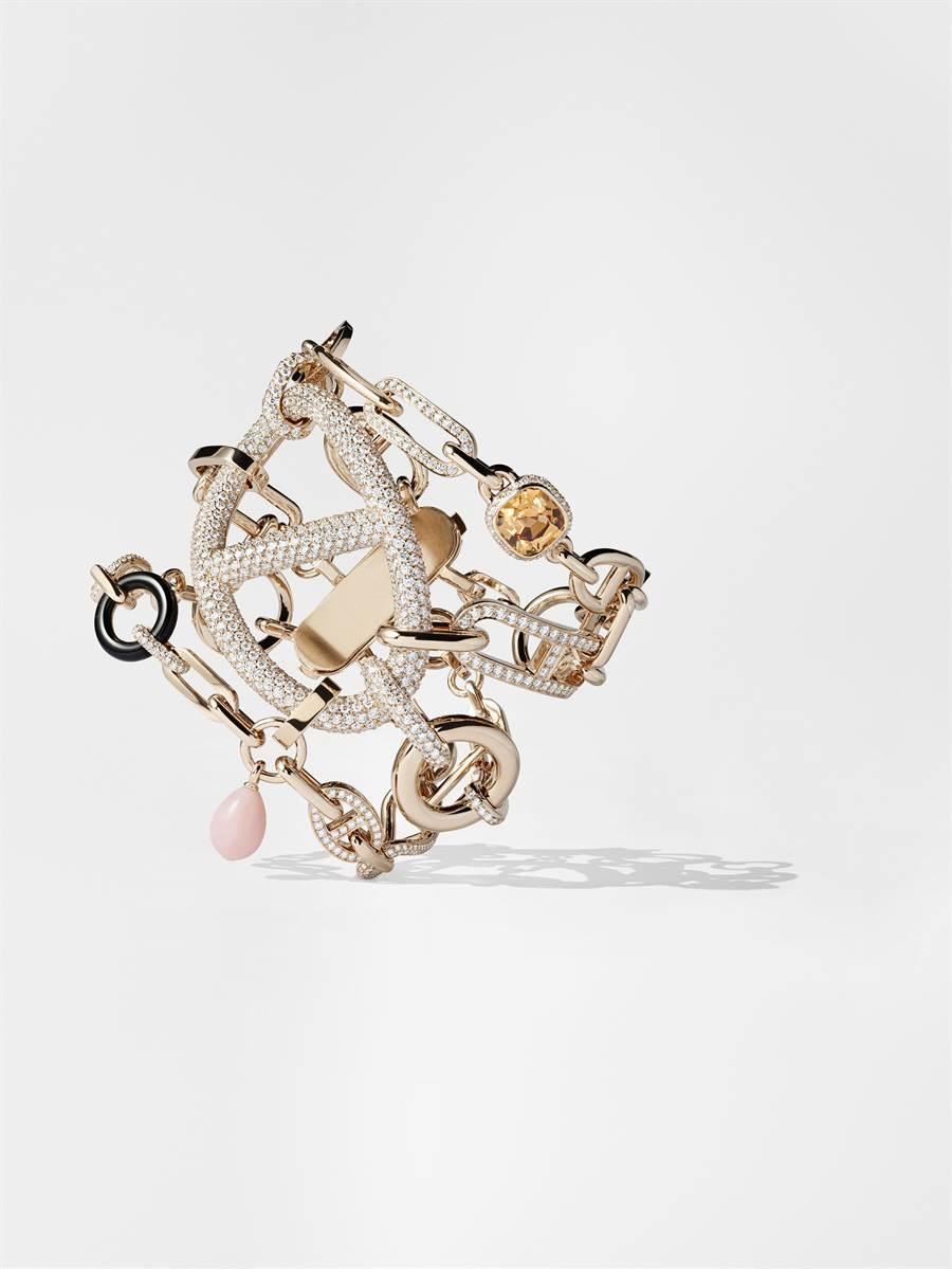 愛馬仕Grand Jete玫瑰金手鐲,鑲粉紅蛋白石、墨玉、黃橘色黃玉與白鑽,1273萬7400元。(HERMES提供)