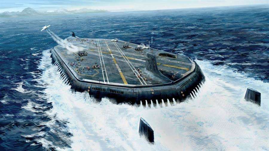 軍事專家想像未來的海戰將由無人機潛水母艦取代現在航母功能。圖為畫家繪製想像中的無人機潛水母艦。(圖/Reddit)
