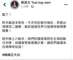 中華隊抗委成功  前官員驚蔡不說這句話