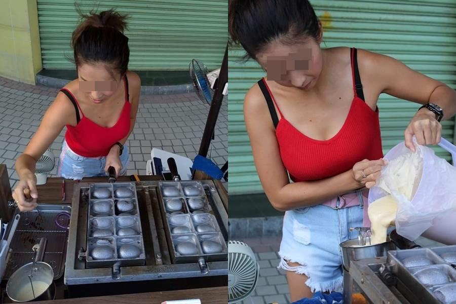 超胸人妻賣雞蛋糕 一彎腰2粒掉出。(圖/摘自加藤軍路邊隨手拍FB)