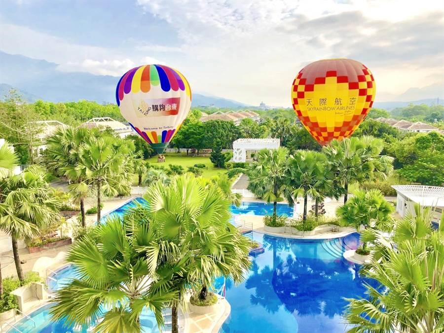 「日暉國際渡假村」首創將熱氣球搬進飯店園區,讓房客直接在此體驗飛行之旅。(日暉集團提供)