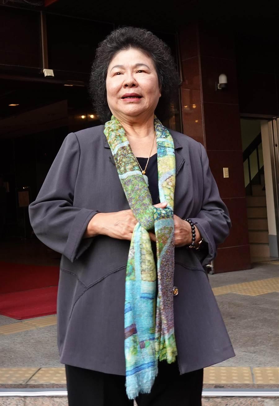 陳菊表示總統副手及宣布時間由總統決定,她不清楚。(姚志平攝)