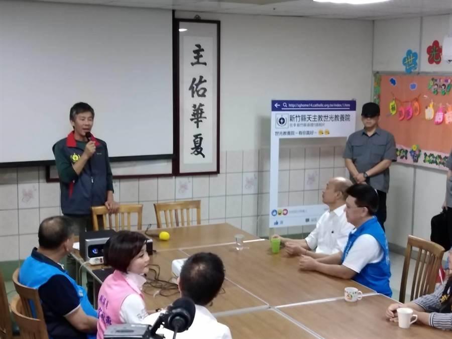 韓國瑜上午到新竹縣世光教養院。(羅浚濱攝)
