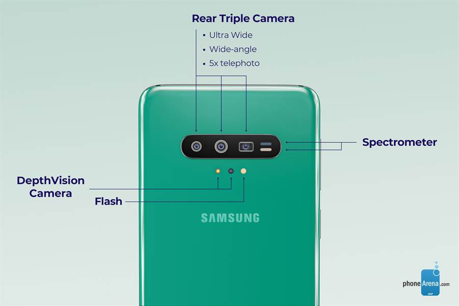 《PhoneArena》製作的 Galaxy S11 渲染圖。(摘自PhoneArena)