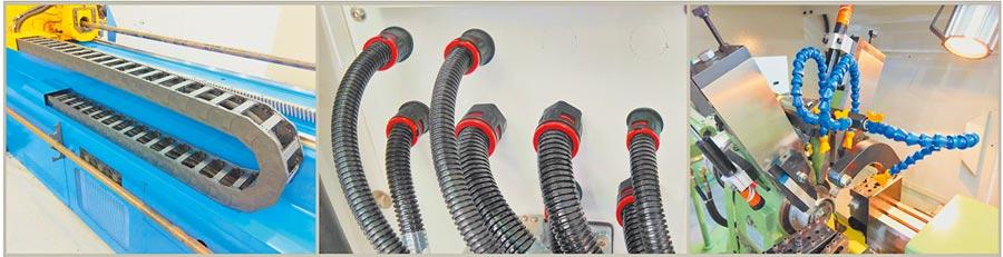 欣軍所專業研產的鏈條護管(左起)、尼龍快速接頭、顆粒噴油管。圖/欣軍提供