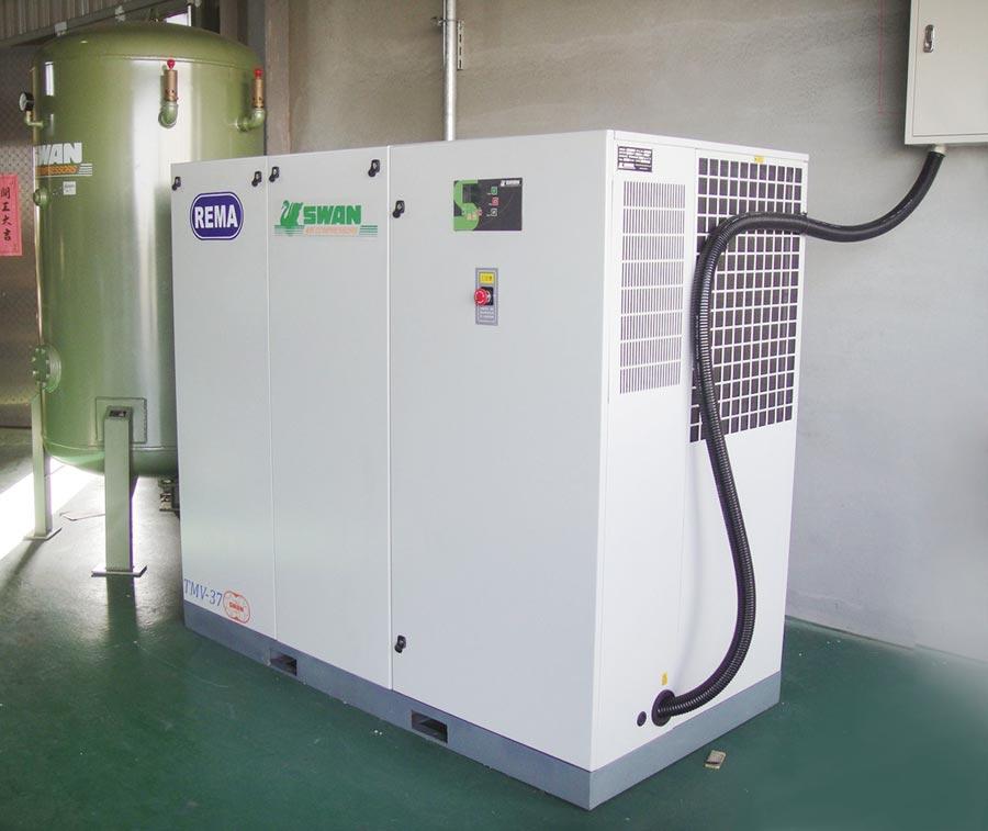 瑞明陳公司研製「螺旋式高效空壓機專用伺服馬達」,具高節能特點。圖/瑞明陳提供