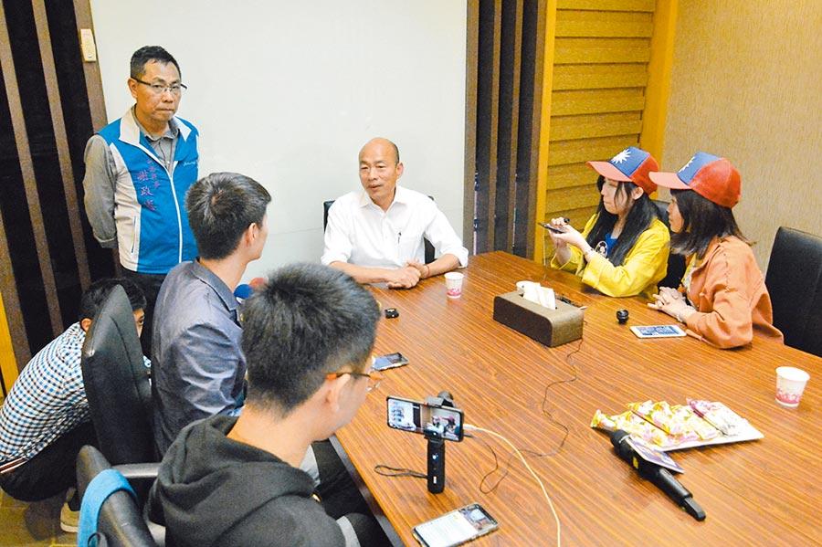 國民黨總統參選人韓國瑜6日環島傾聽之旅走到新竹市,與清大博士生何坤軒等Youtuber直播對談,把一再被綠抹黑的學貸免息等學生問題講清楚。(林宏聰攝)