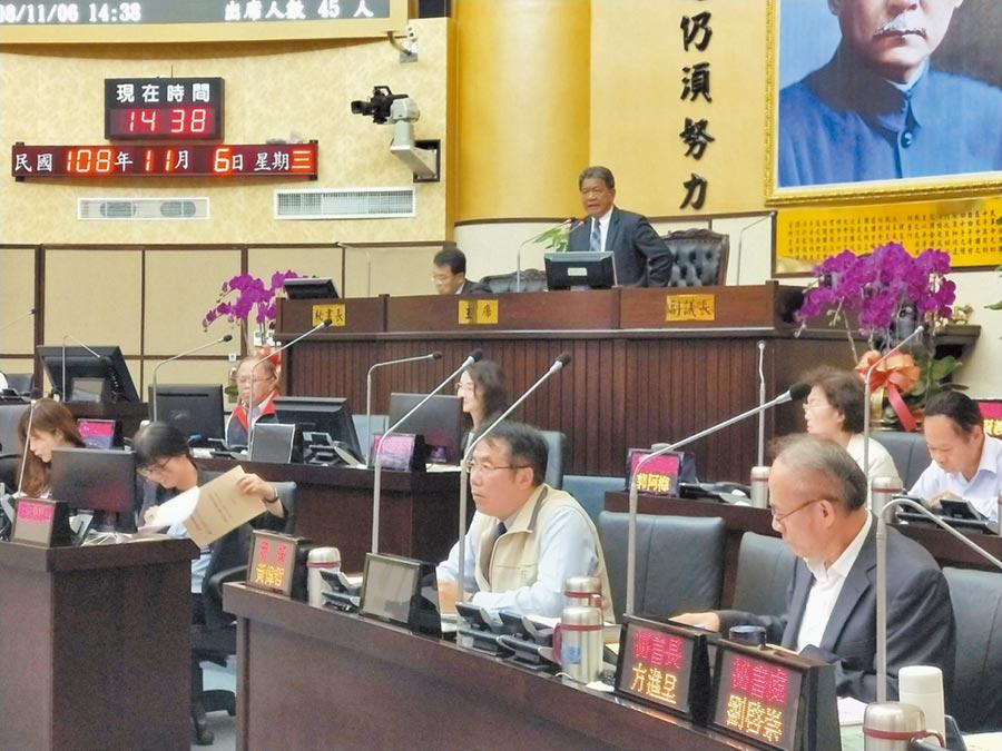 台南市議會定期會完成109年度台南市總預算案一讀程序。(洪榮志攝)