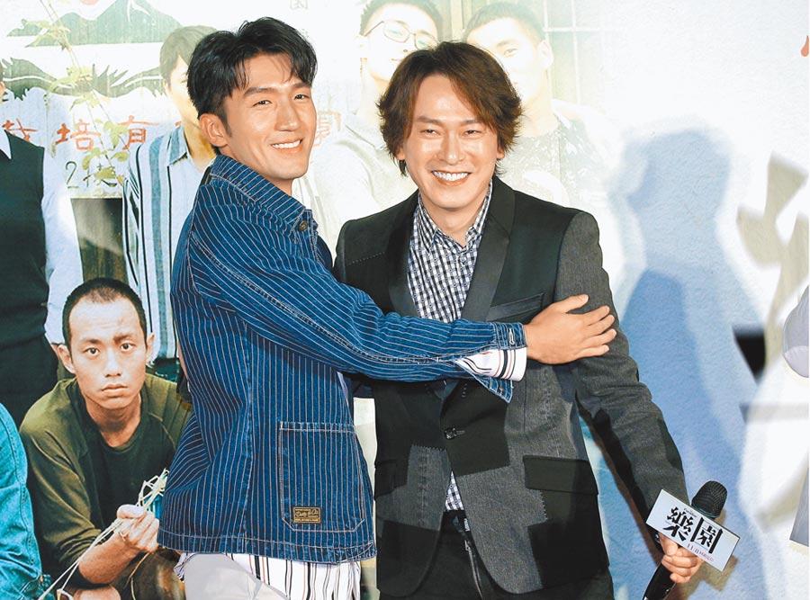 王識賢(右)跟原騰主演的新電影《樂園》昨舉行首映會。(粘耿豪攝)