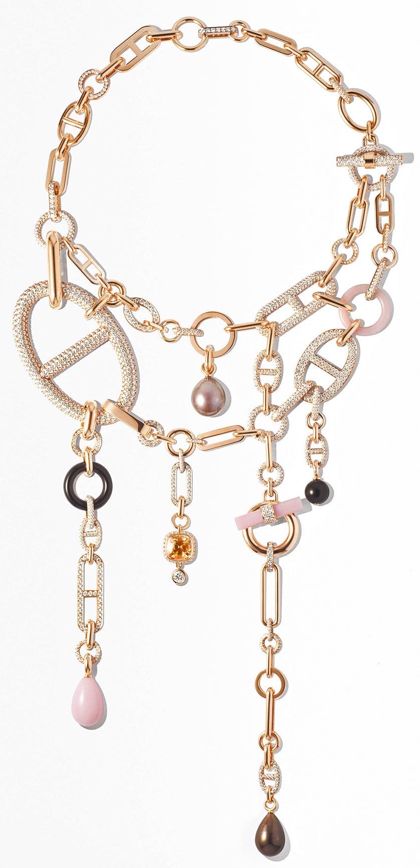 愛馬仕Grand Jete 玫瑰金項鏈,鑲珍珠、粉紅蛋白石、墨玉、橘黃色藍寶石與白鑽,2700萬1400元。(HERMES提供)