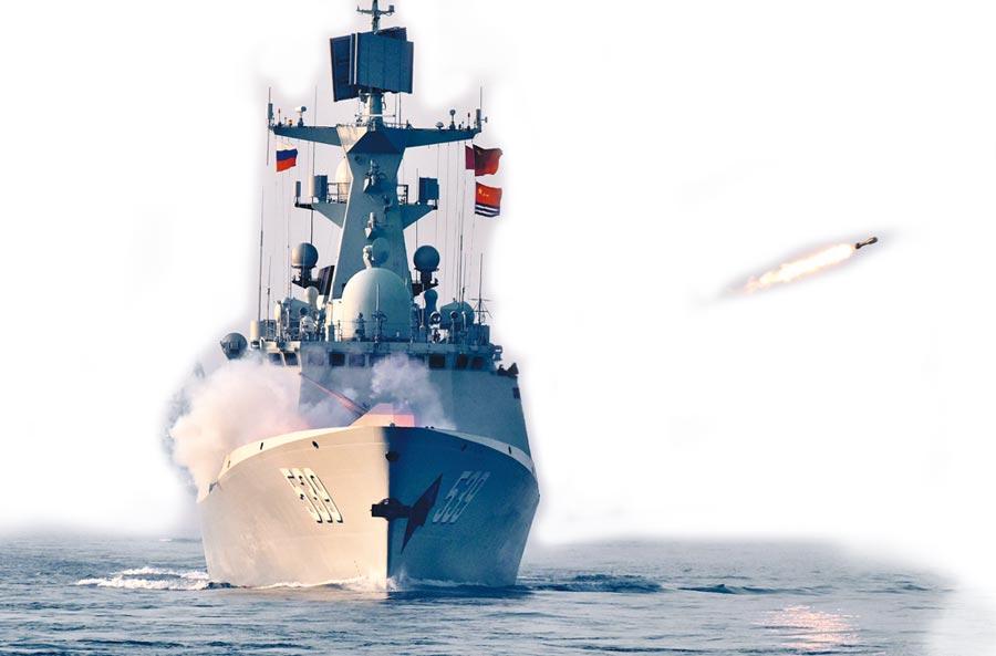 5月3日,中俄「海上聯合─2019」軍事演習,解放軍海軍飛彈護衛艦實施火箭深彈發射。(新華社)