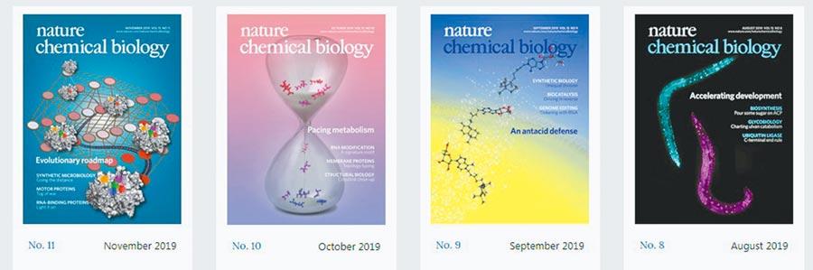 近幾個月的《自然‧化學生物學》期刊。(取自Nature Chemical Biology官網)