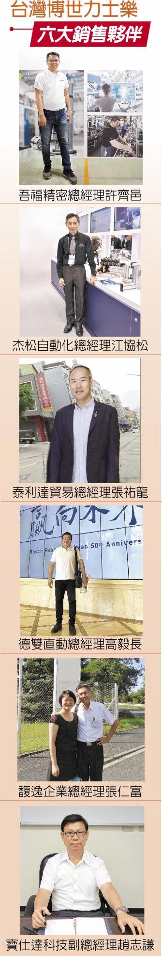 台灣博世力士樂六大銷售夥伴