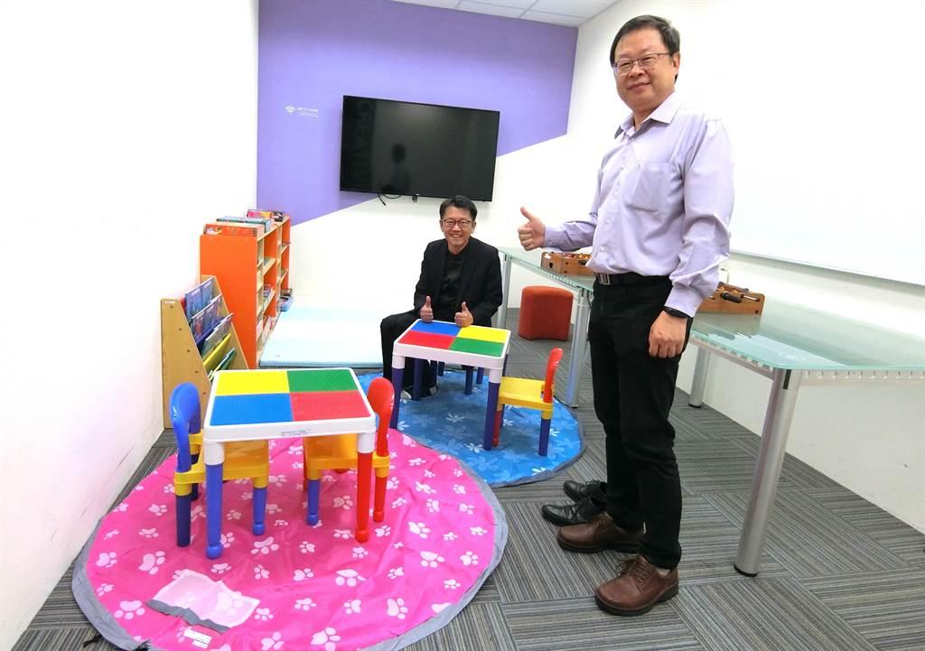 「微程式資訊股份有限公司」特別設置兒童臨時照顧空間。(盧金足攝)