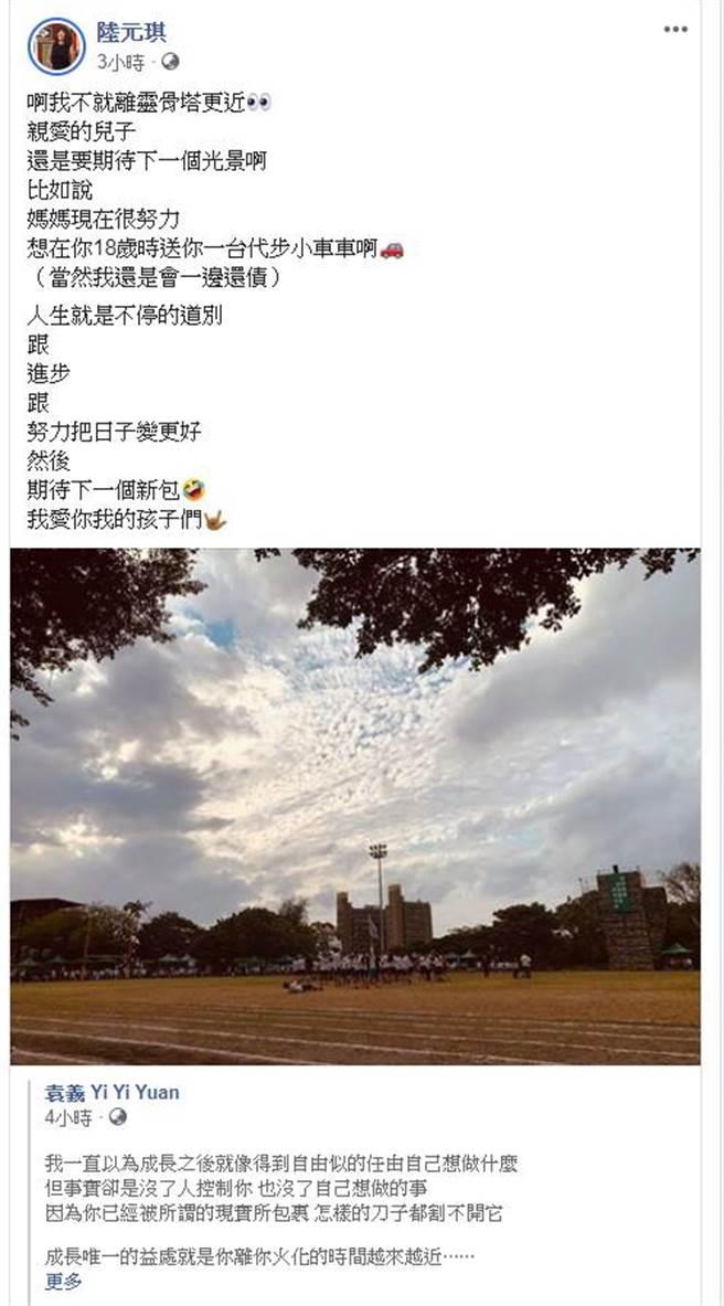 陸元琪臉書全文。(圖/取材自陸元琪臉書)