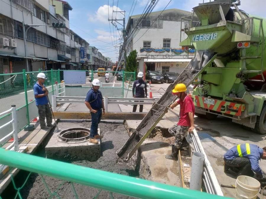 太平鵬儀路及中和街雨水下水道已完工。(台中市政府水利局提供/陳世宗台中傳真)