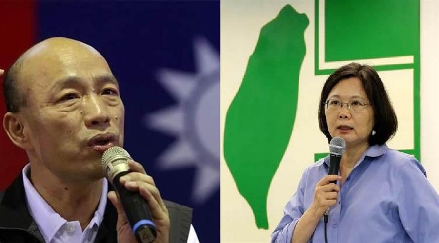 國民黨2020總統參選人、高雄市長韓國瑜(左),總統蔡英文(右)。(圖/合成圖,中時資料照)