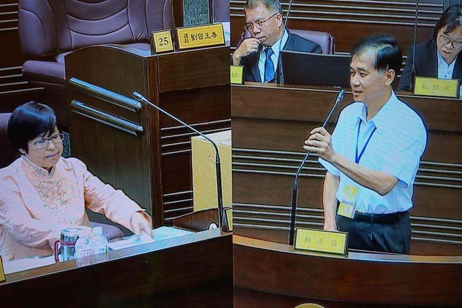 桃園市立陽明高中校長宋慶瑋(右)到桃園市議會備詢。(甘嘉雯攝)