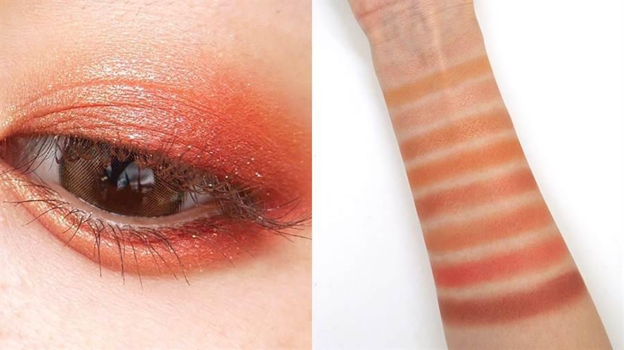 楓葉盤包含各種實用又絕美的暖色系,就算是眼影新手也能簡單畫出超美的楓葉秋妝。(圖/IG@h1rk)