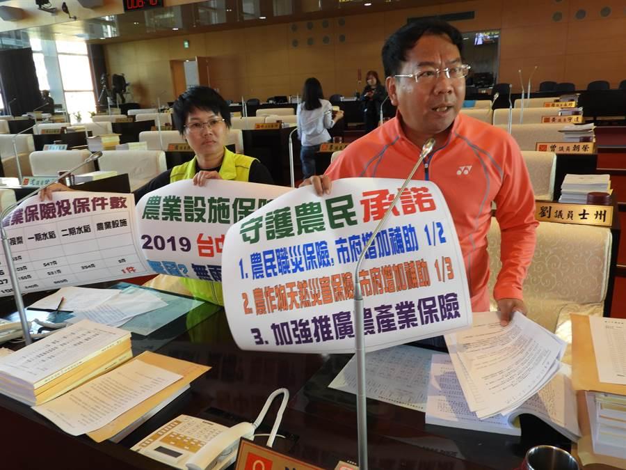 台中市議會8日進行財政經濟業務質詢,市議員謝志忠(右)、張玉嬿關心農業保險等議題。(陳世宗攝)