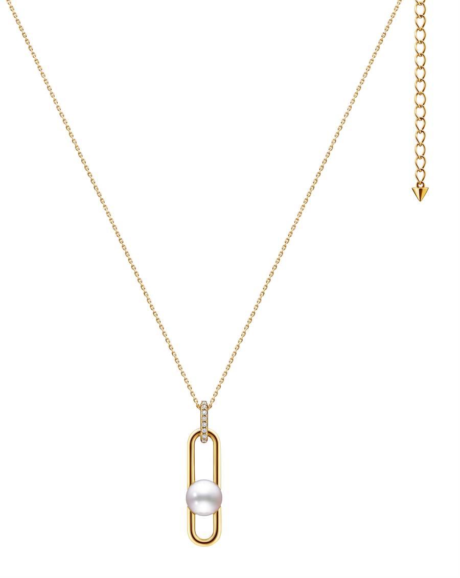 TASAKI fine links鑽石珍珠黃K金項鍊,9萬7400元。(TASAKI提供)